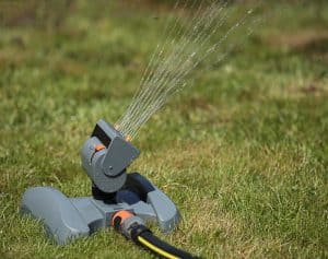 Oscillating irrigation sprinkler of the lawn at noon close-up