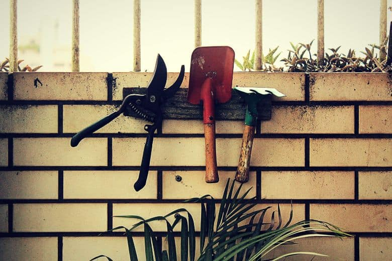 pruners, trowel, shovel on a wall