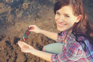 woman planting seeds in the soiil