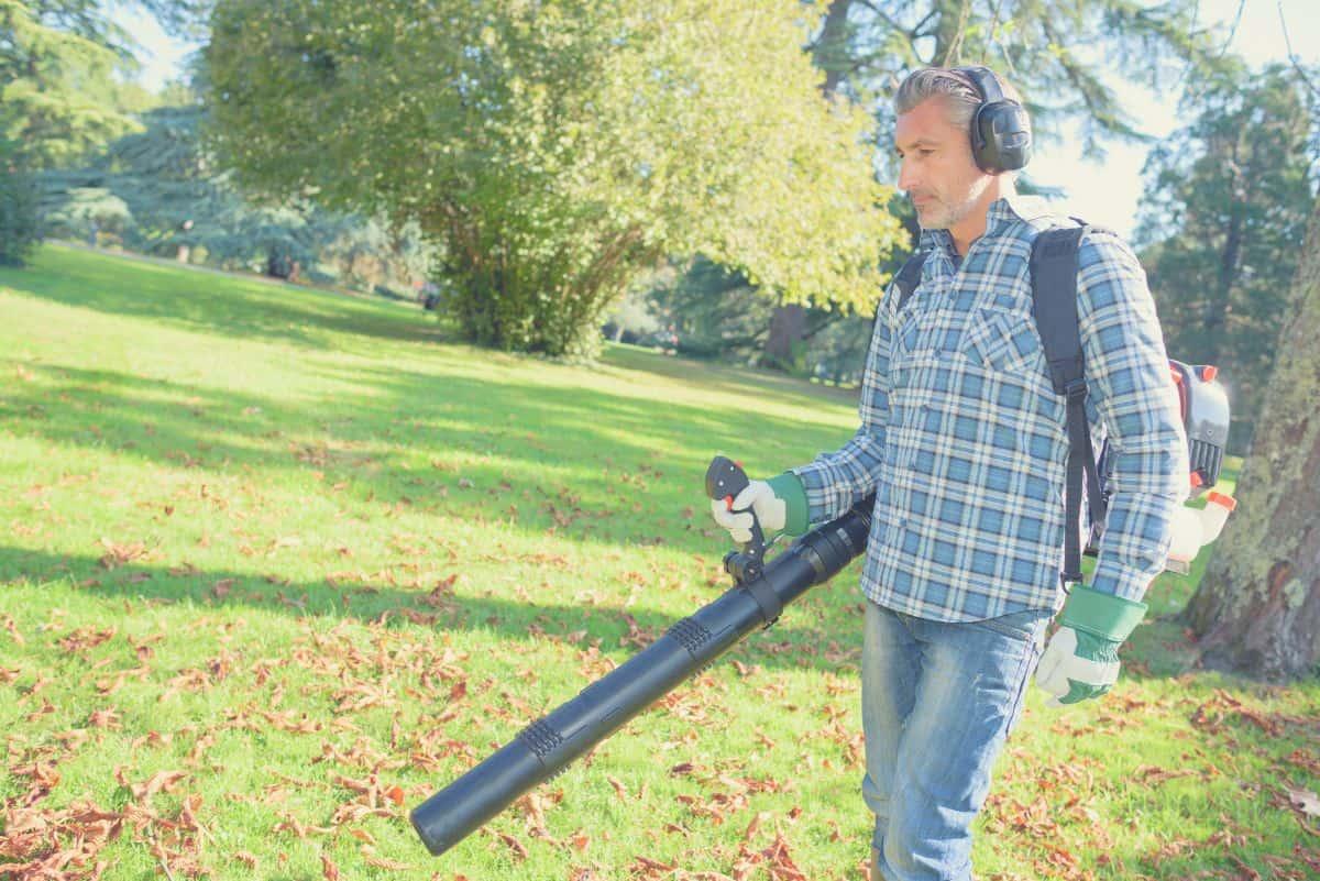 man using backpack leaf blower in garden