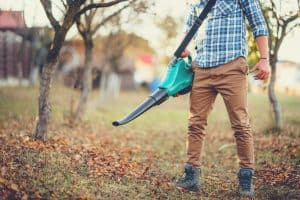 man using leaf blower in garden