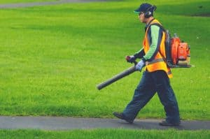man using commercial leaf blower in yard