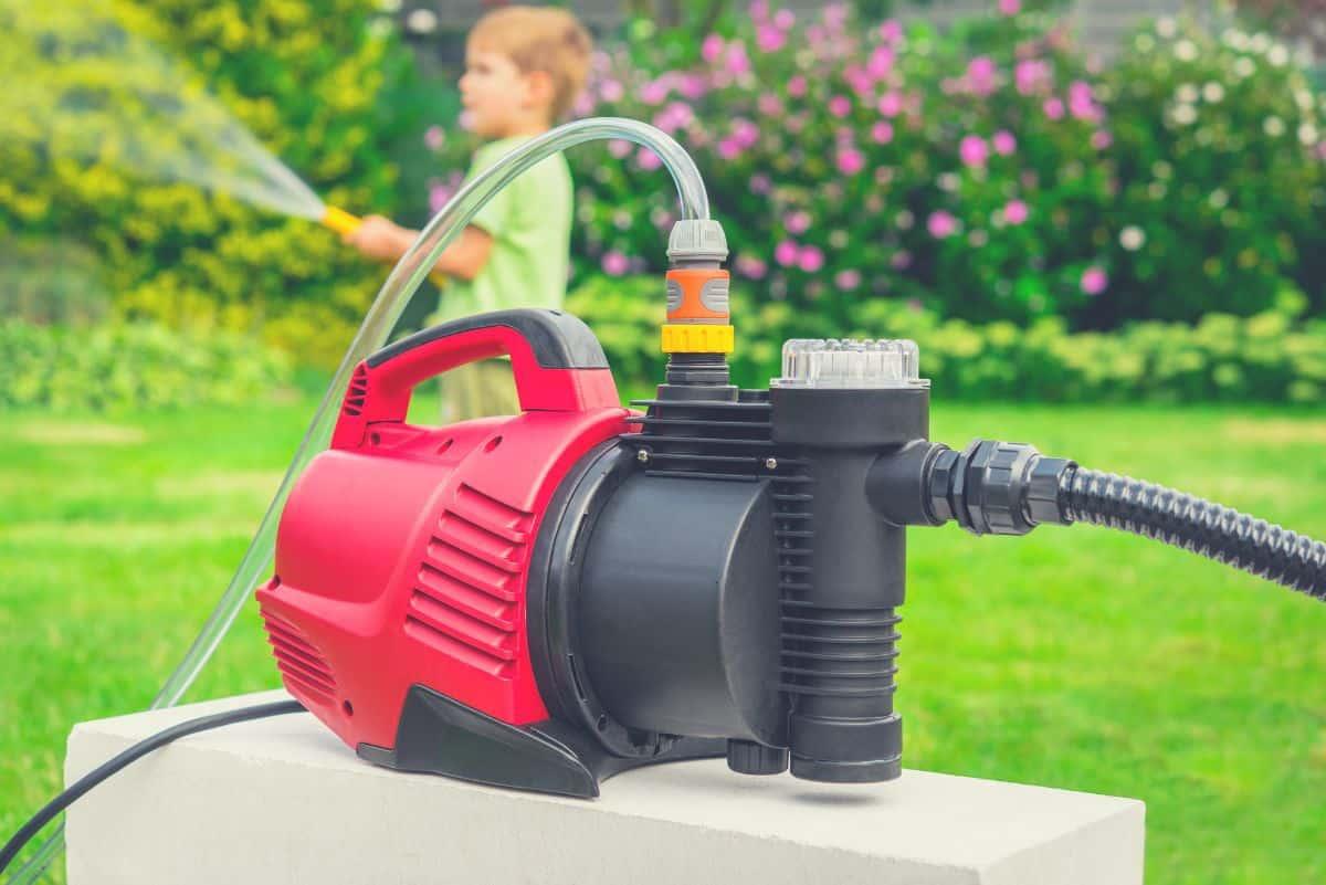 sprinkler pump in the yard
