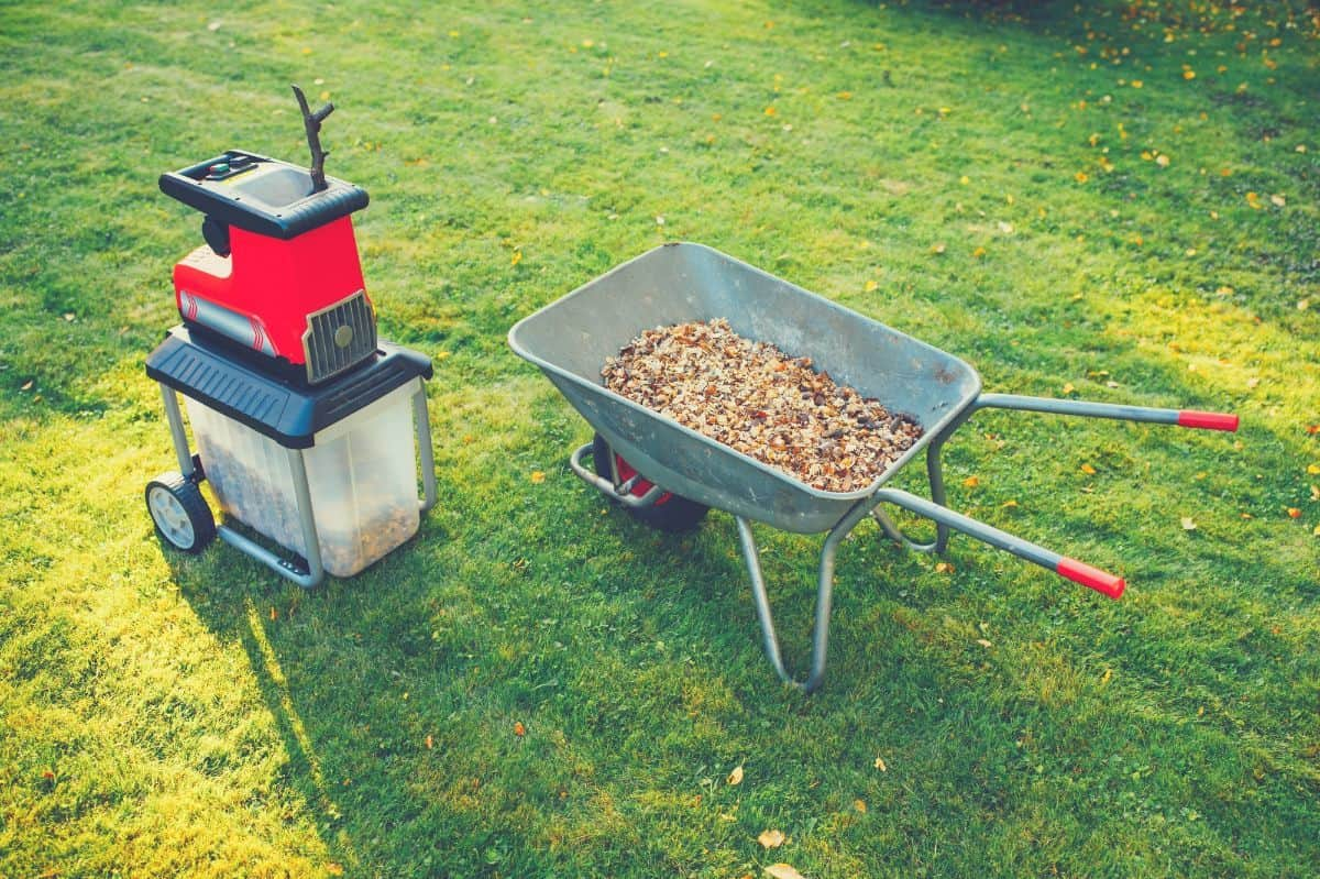 wood chipper and shredder in garden