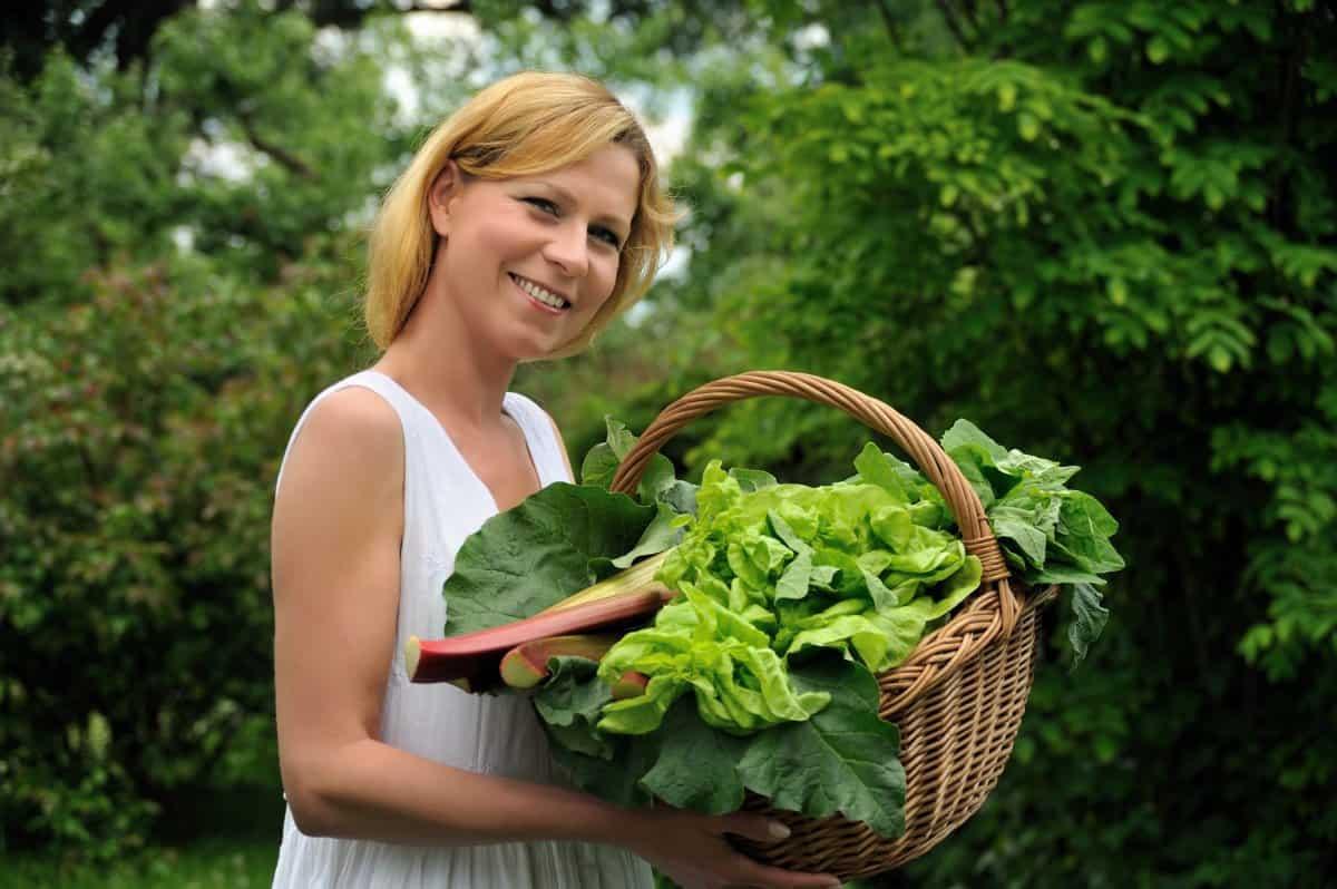woman holding basket of leafy vegetables