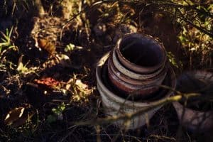 pots and garden soil